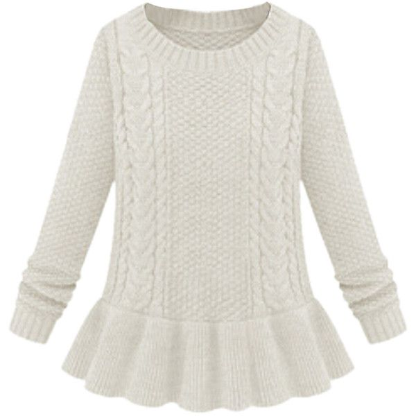 Beige Plain Peplum Pullover Cable Knit Ladies Retro Sweater (€11 ...