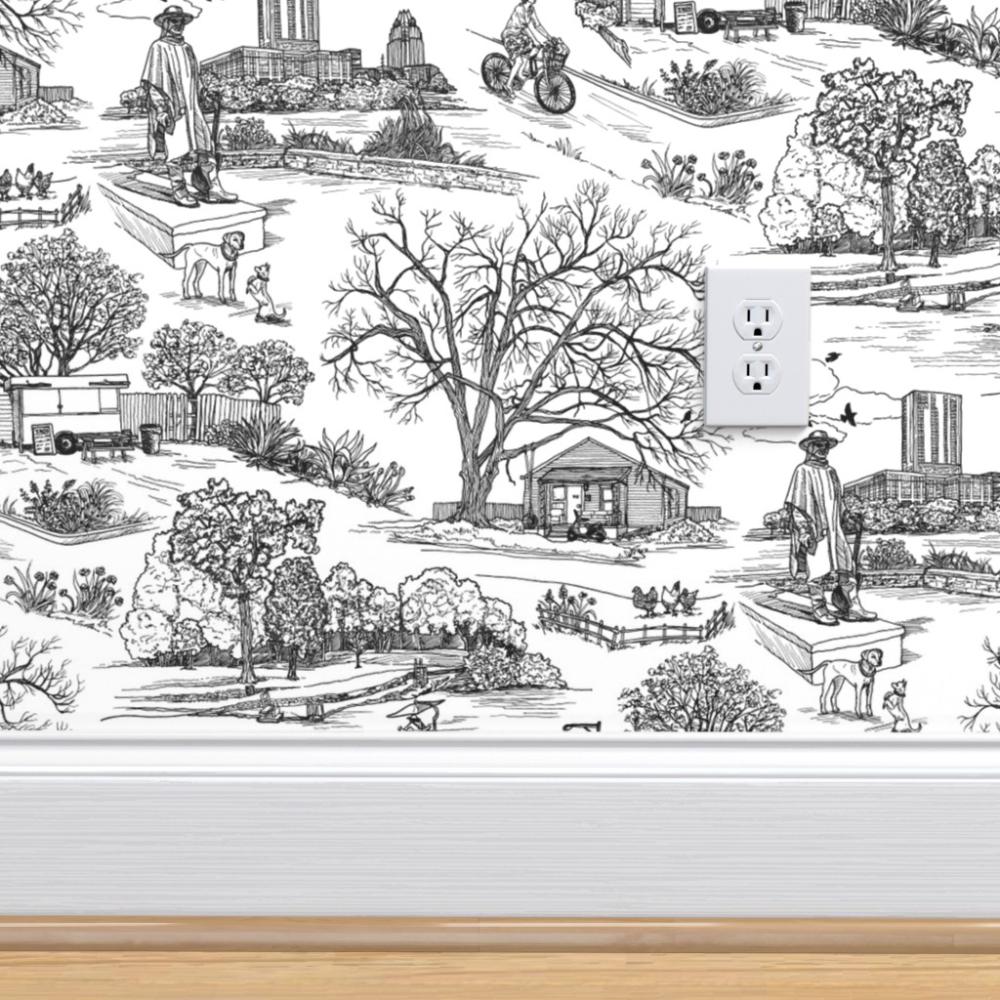 Austin Texas Toile White Spoonflower Wallpaper Toile Wallpaper Perfect Wallpaper