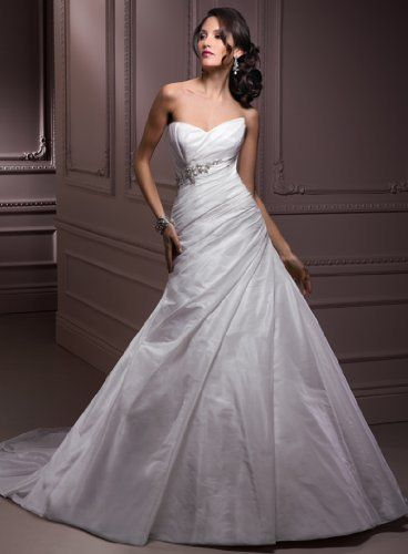 Simple White Taffeta Wedding Gown With Beading Special Moments