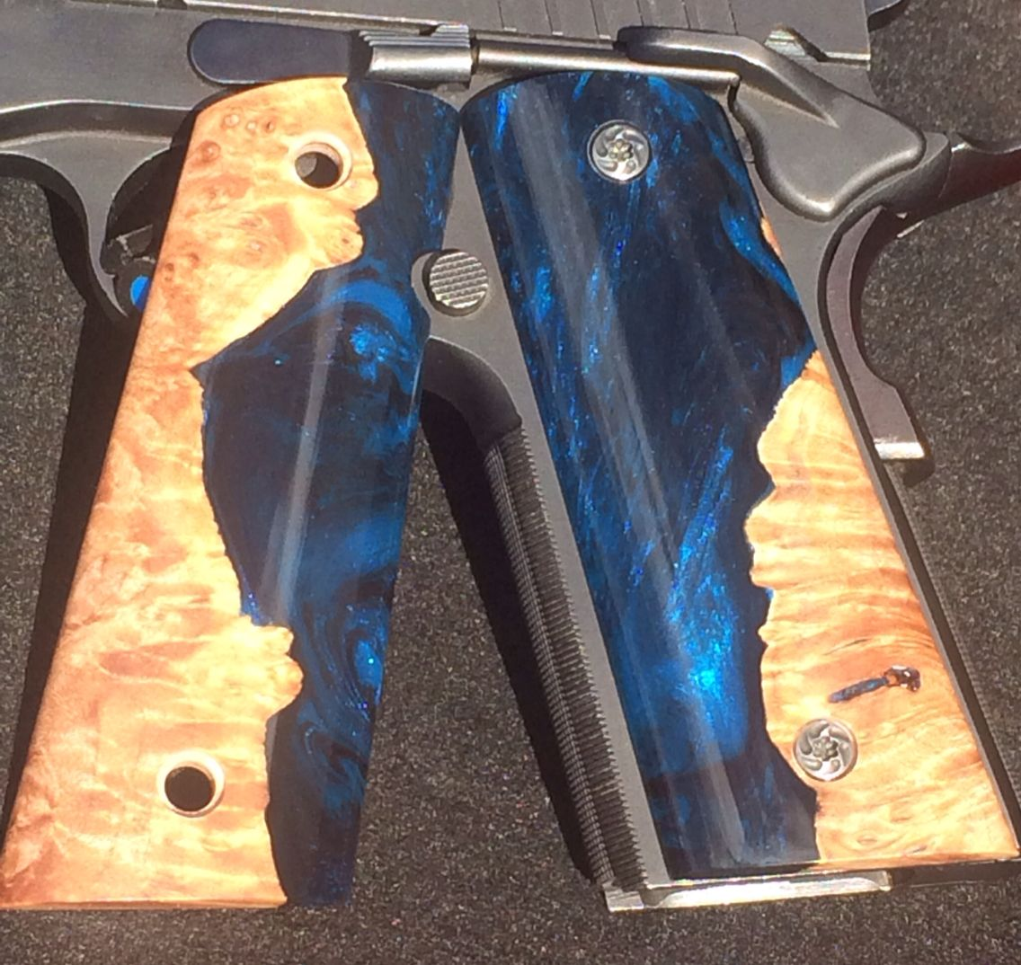 Custom 1911 grips  Made from maple burl and resin  Color is