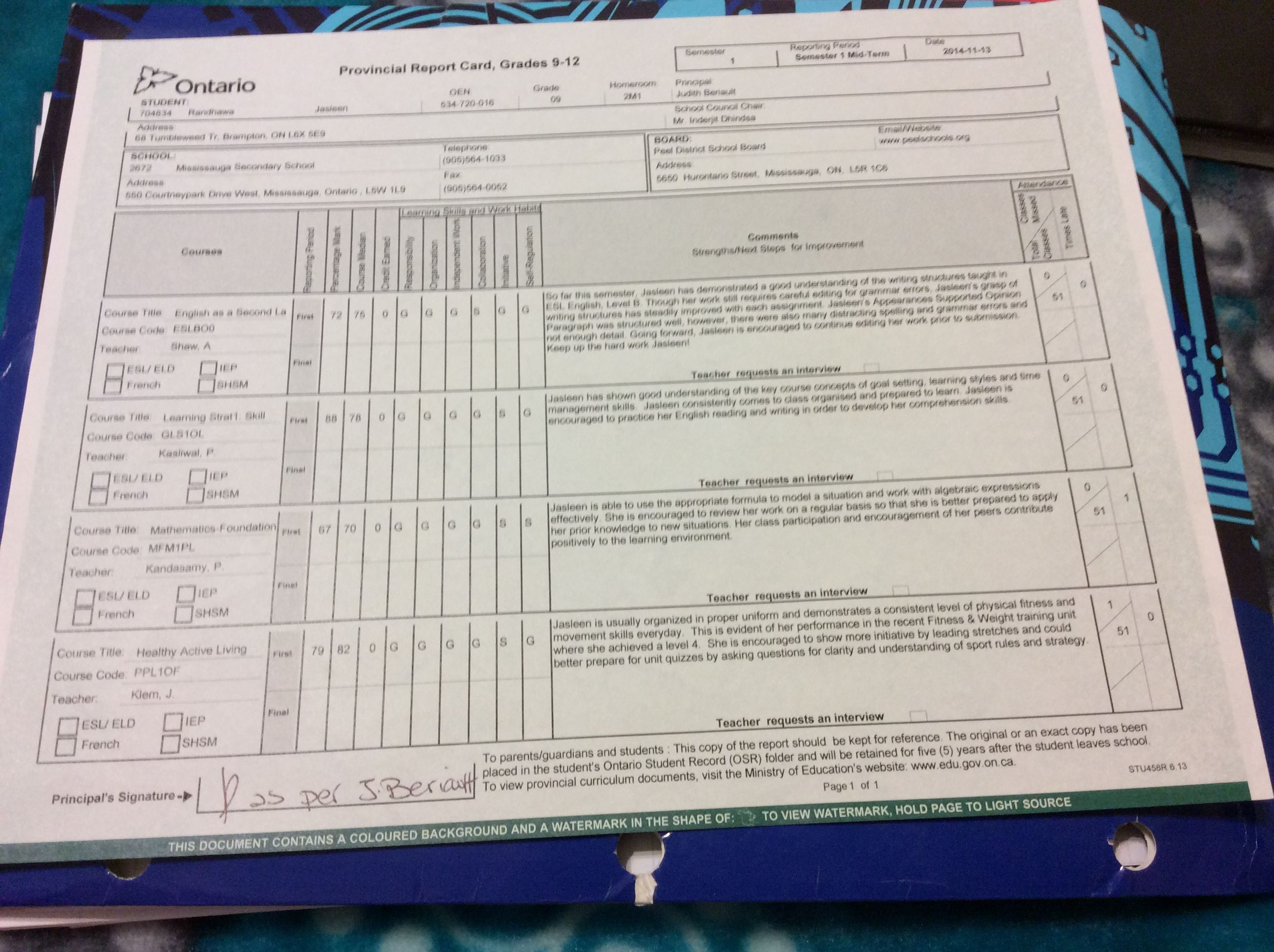 grade 9 report card  this is my report card in grade 7 | Cards, Personalized items