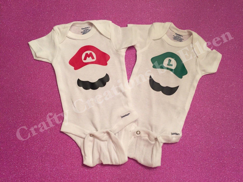 002b22e44519 Mario and Luigi baby bodysuit set Twin Sets Twin baby boy clothes ...