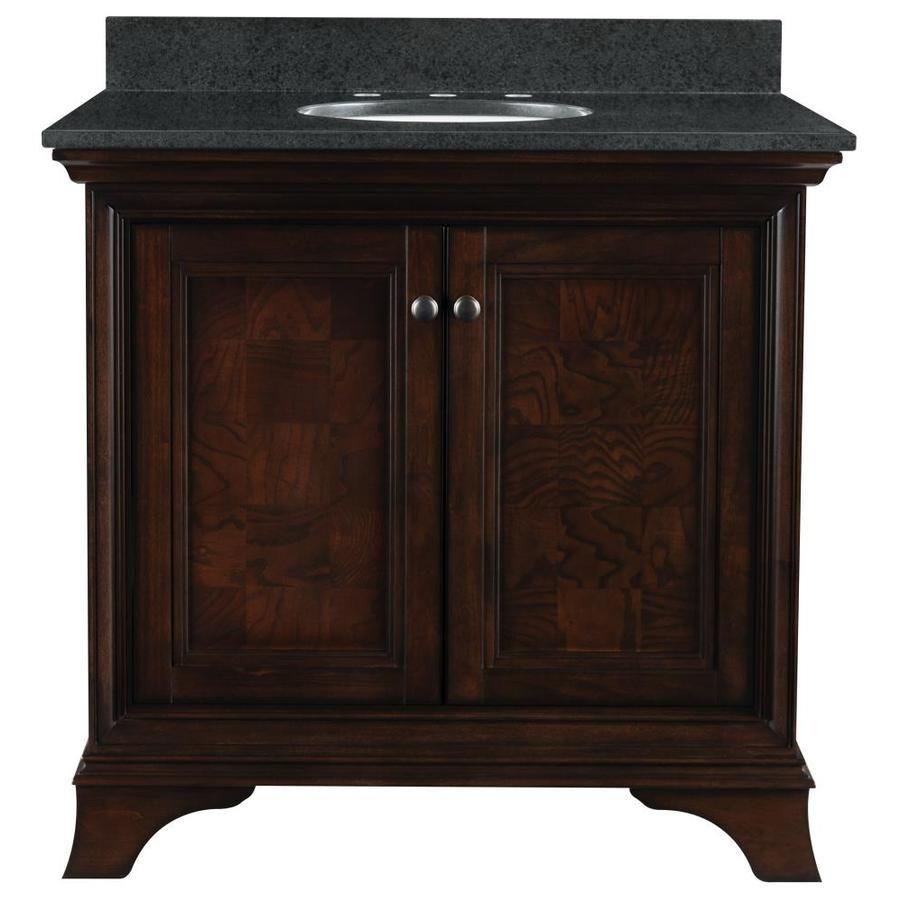 Allen roth eastcott 36 92 in auburn undermount single sink bathroom vanity with granite top