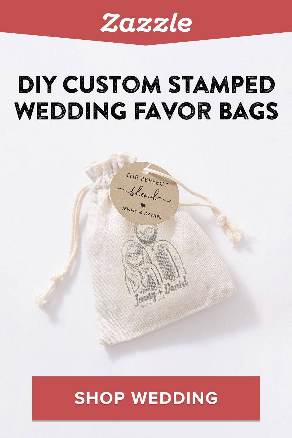 A beautiful yet easy DIY wedding favor: Create a custom stamp on Zazzle and use on favor bags to fill with coffee beans, candy, plant seeds and more. Shop Zazzle for all things wedding including invitations, menus, decor and more.