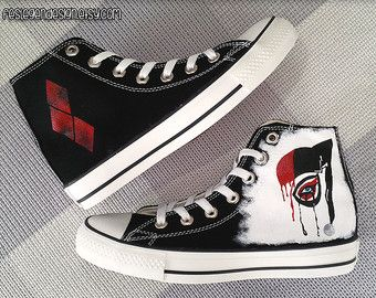 The Flash and Reverse Flash Custom Converse Painted Shoes