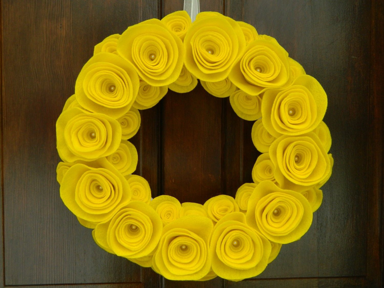 2014 Wreaths Decor Ideas - Summer Wreath Yellow Wreath Felt Flower ...