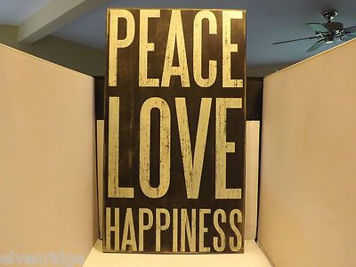 "Black wooden box sign. ""Peace Love Happiness"""