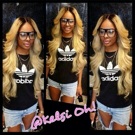Blonde Laid Sew In W Black Rooted Lace Closure Weave Hairstyles