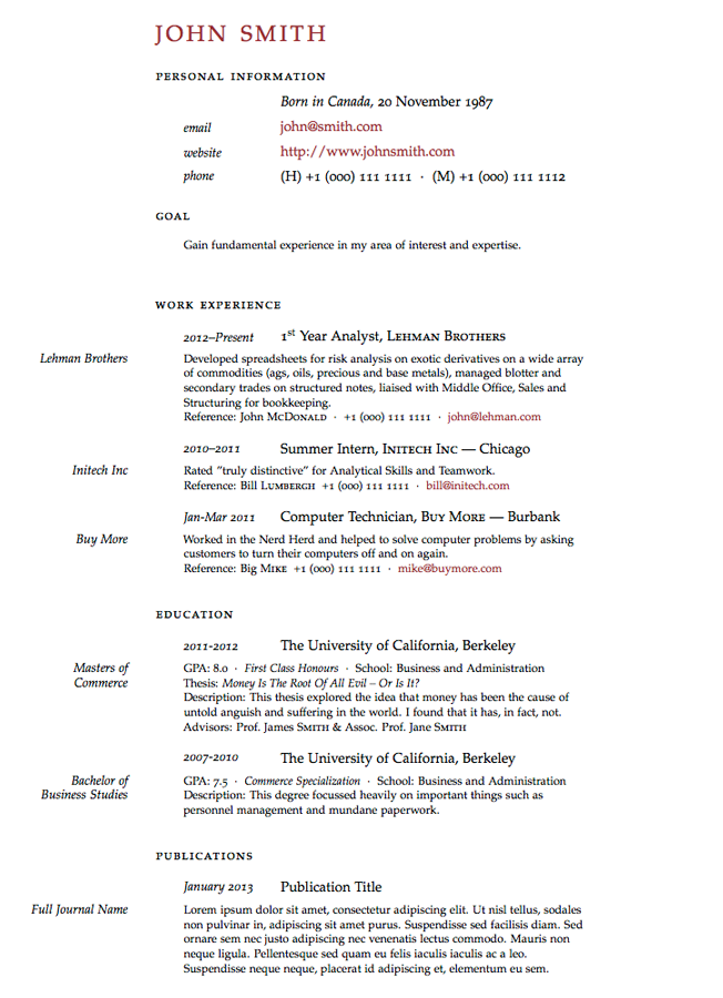 Academic Resume Template Latex Templates » Classicthesisstyled Cv  Aslam  Pinterest