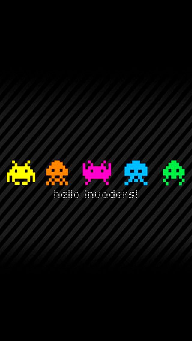 iPhone 5 Fun Wallpaper Space invaders, Papel de parede