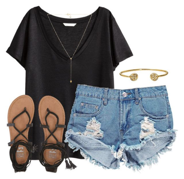 """""""read d"""" by southernnbellle ❤ liked on Polyvore featuring H&M, Boohoo, Gorjana and Billabong"""