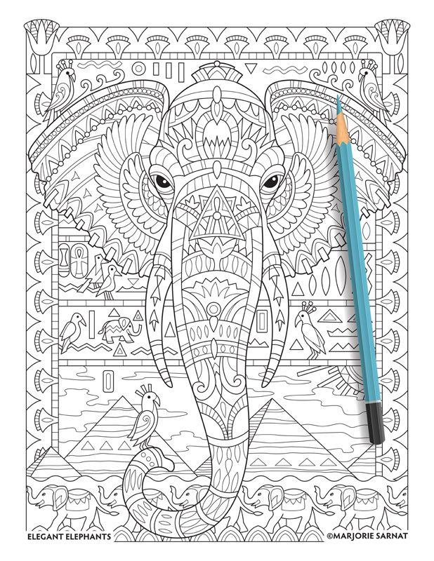 Egyptian Motif Flower DrawingsAdult ColoringColoring BooksColoring