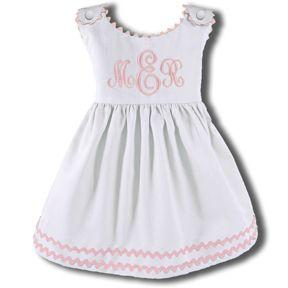 Girls Monogrammed  Ric Rac Dress Light Pink