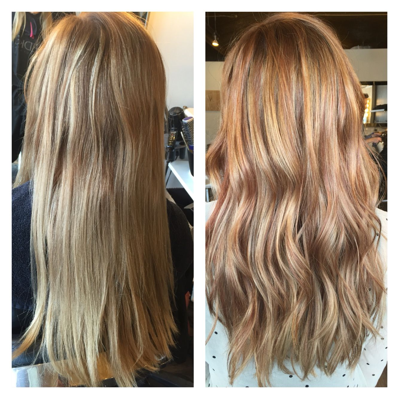 My New Hair Before And After Picture I Had Copper Red Lowlights Done Throughout And Toned Blonde Hair With Copper Lowlights Dark Blonde Hair Strawberry Hair