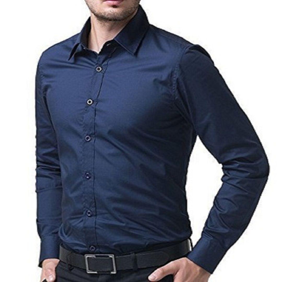 Men Shirt Casual Long Sleeve Regular Fit Cotton Printed Blue Formal Shirt Indian