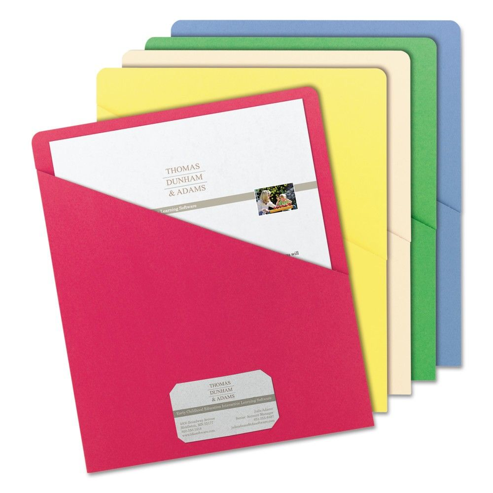 Smead 8-1/2 X 11 Slash Pocket 11 Point Paper Folder- Blue