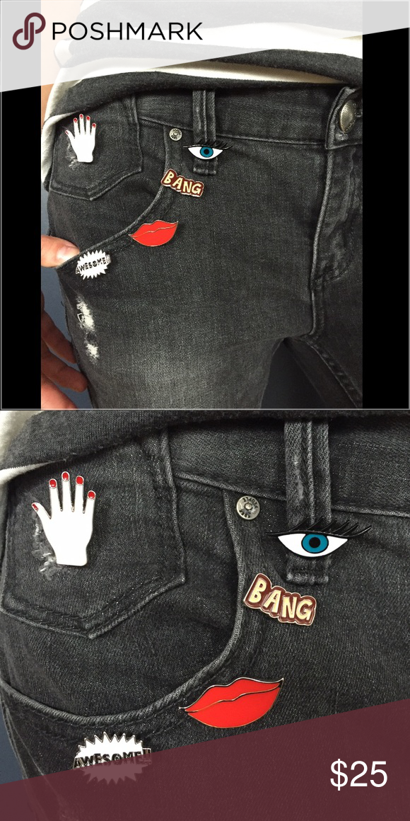 """Funky Enamel Pin Set! Bright and will be ing a pop to any outfit or accessory. Wear on a shirt, jacket, purse or even scarf! Sold as a set. All have a backing for a secure fit! Purchased in Buenos Aires. Each pin approximately 1"""". Costume Baldor Accessories"""