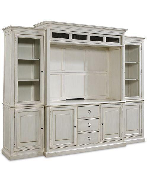 Furniture Sag Harbor White 4-Pc. Wall Unit (2 Bookcases
