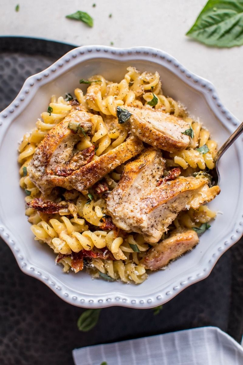 Serve Creamy Sun-Dried Tomato and Basil Chicken Pasta for dinner with this recipe.