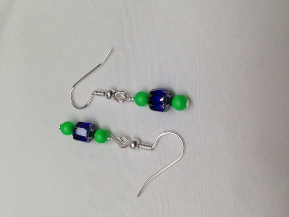 Seattle Seahawks COLORS-Earrings with blue and by JewelryByTerriB #jewelryonetsy #earrings FREE GROUND SHIPPING IN US