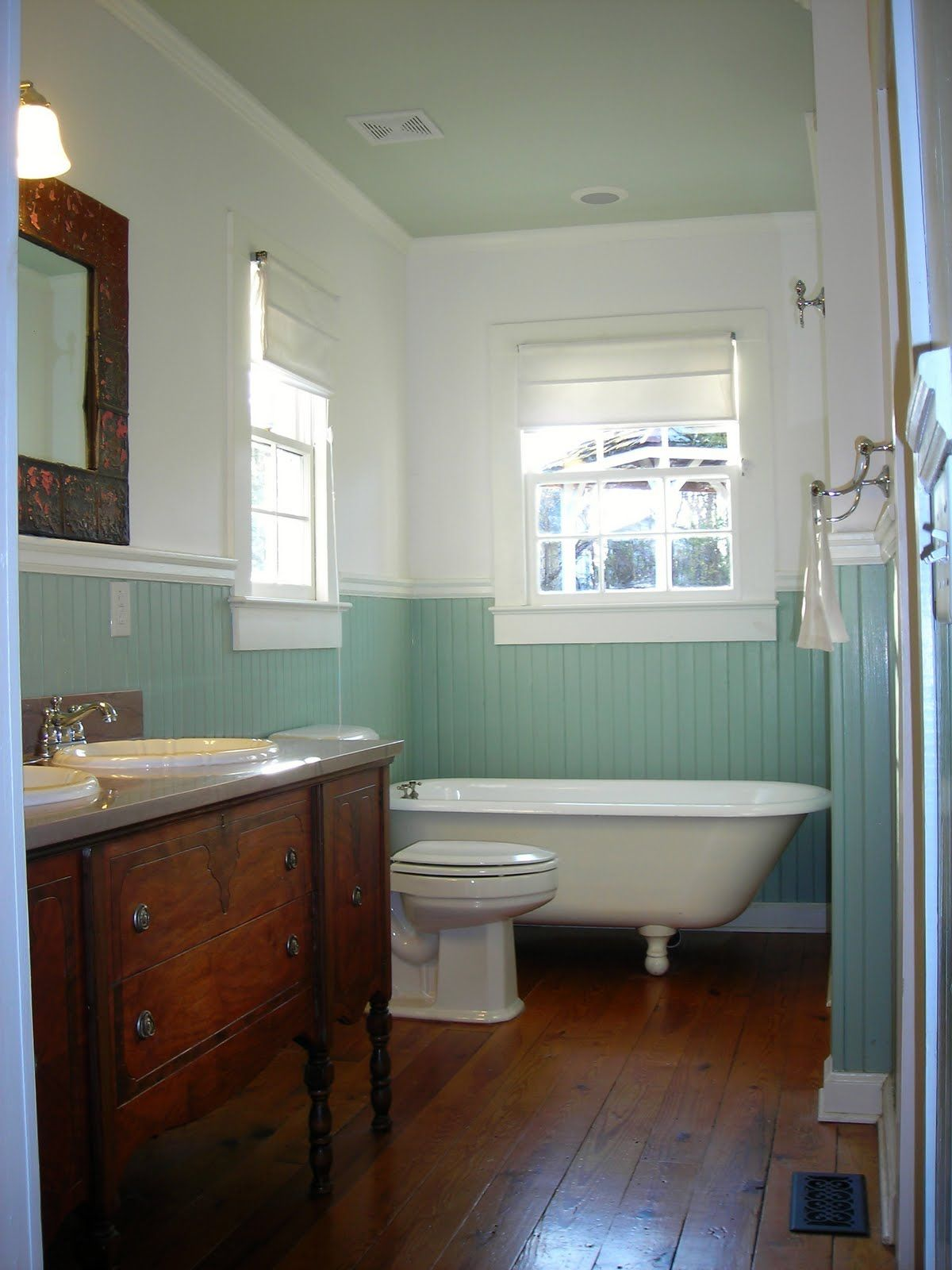 Adorable Wood White And Soft Aqua Bathroom Keen And