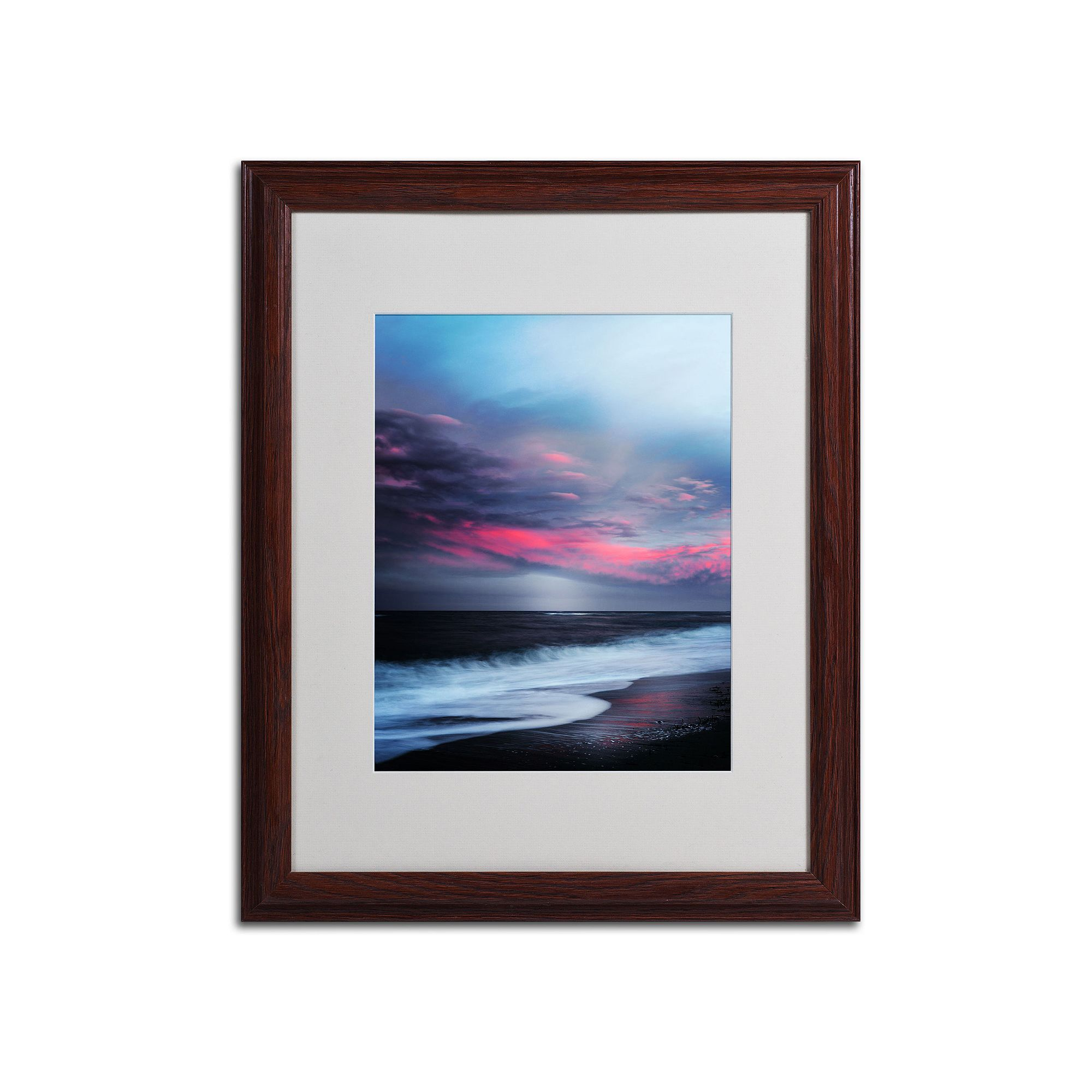 Trademark fine art salt water sound wood finish framed wall art