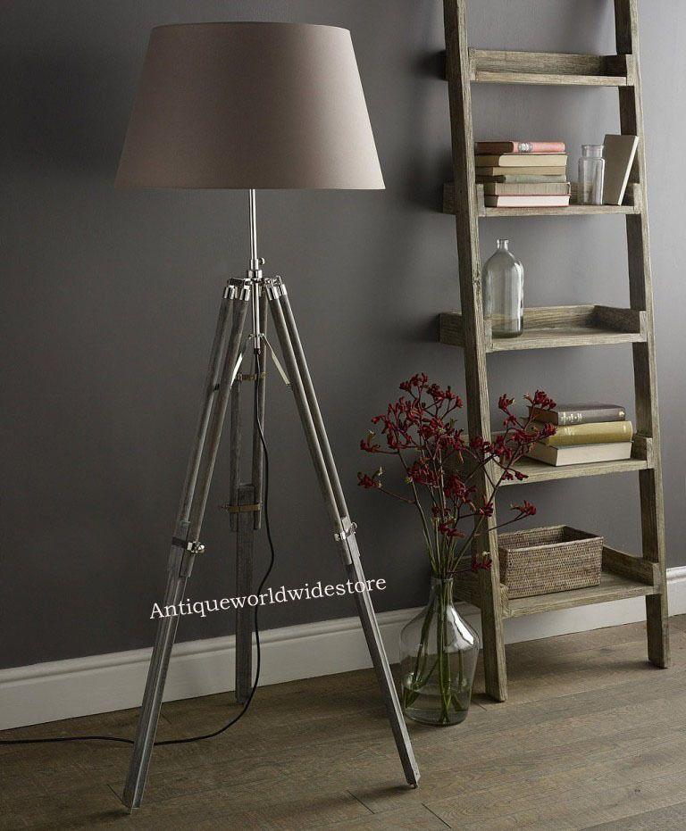 Vintage wooden tripod floor lamp light transit grey tripod old style floorlamp