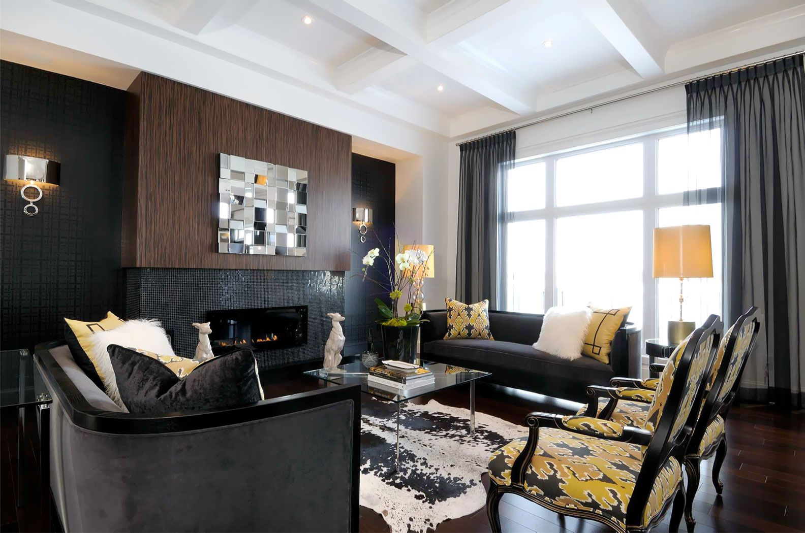 Atmosphere Interior Design Saskatoon Black Accent Wall Living