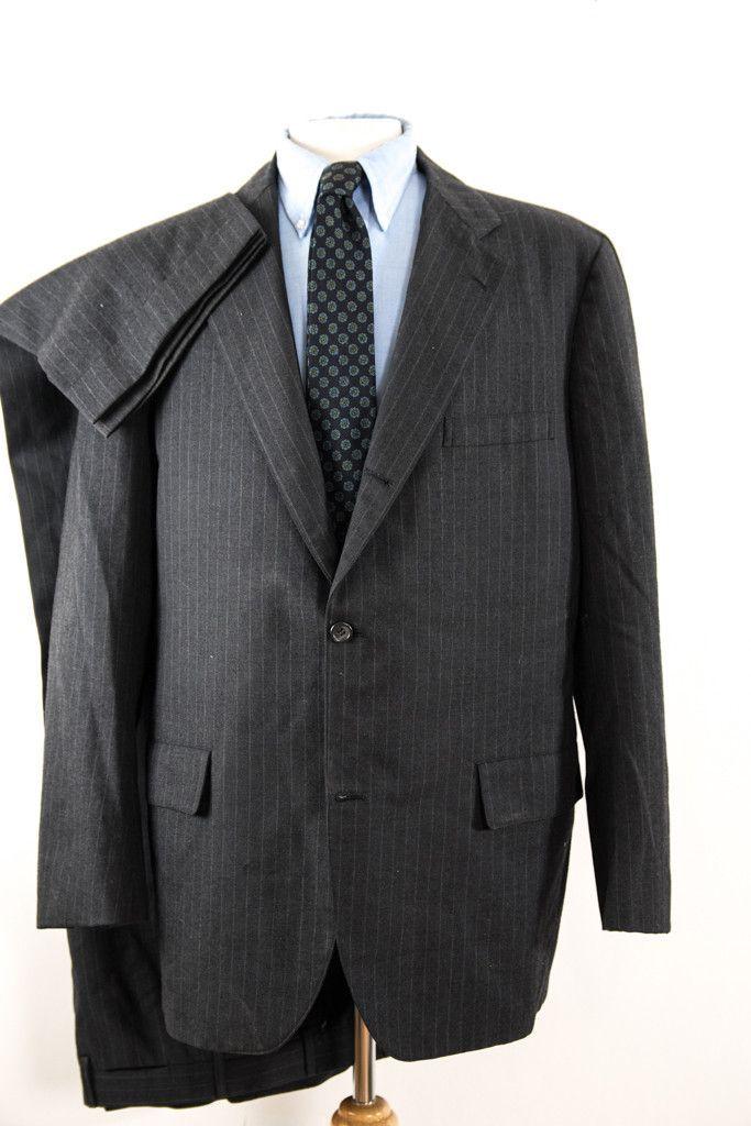 vintage brooks brothers suit black pinstripe wool size 42 IOa0yI