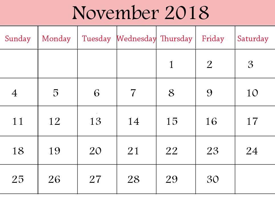 november 2018 pdf calendar to print 2018 Calendars Pinterest