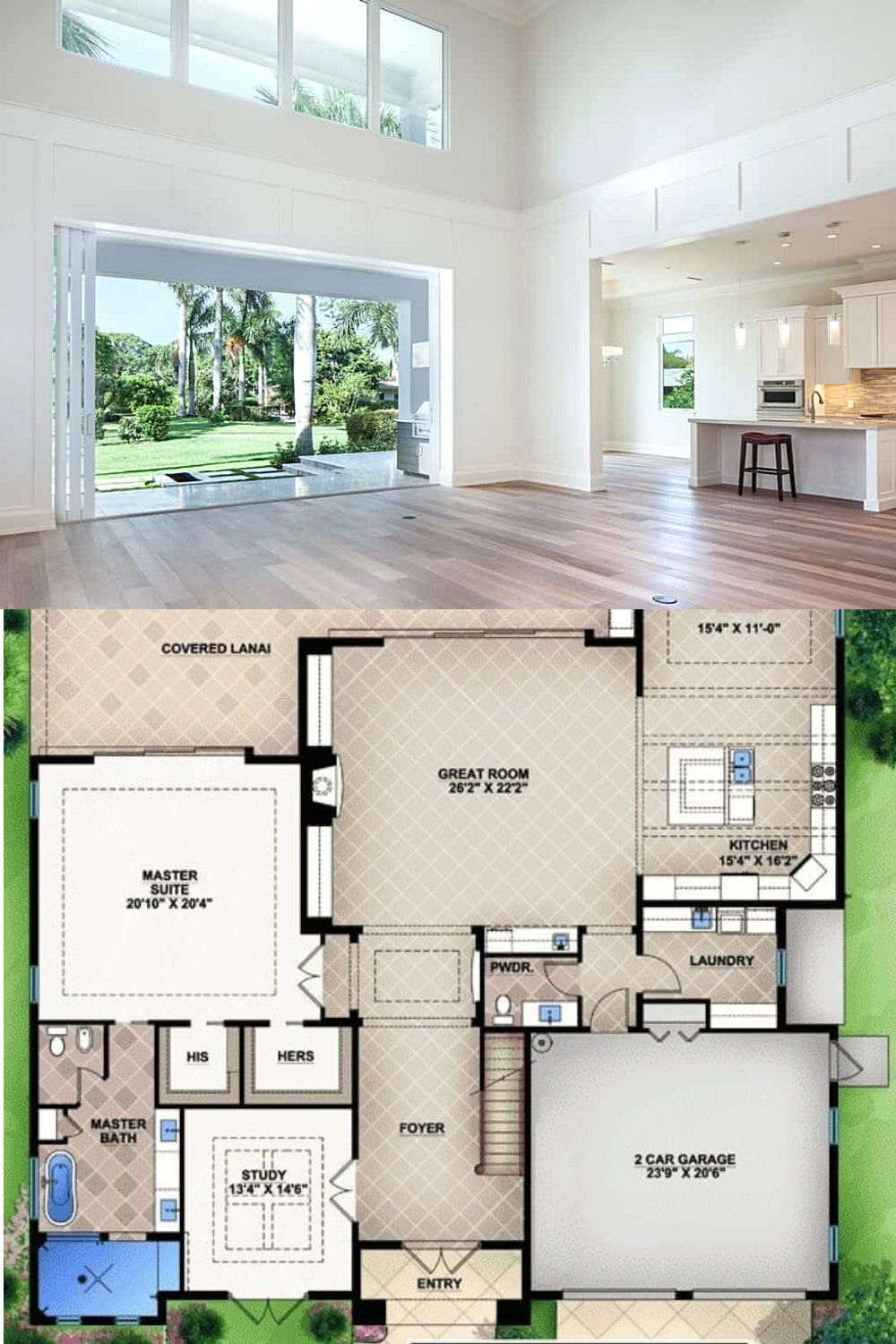 3 Bedroom Two Story Florida Home With A Bar Floor Plan Florida House Plans Mansion Floor Plan House Plans