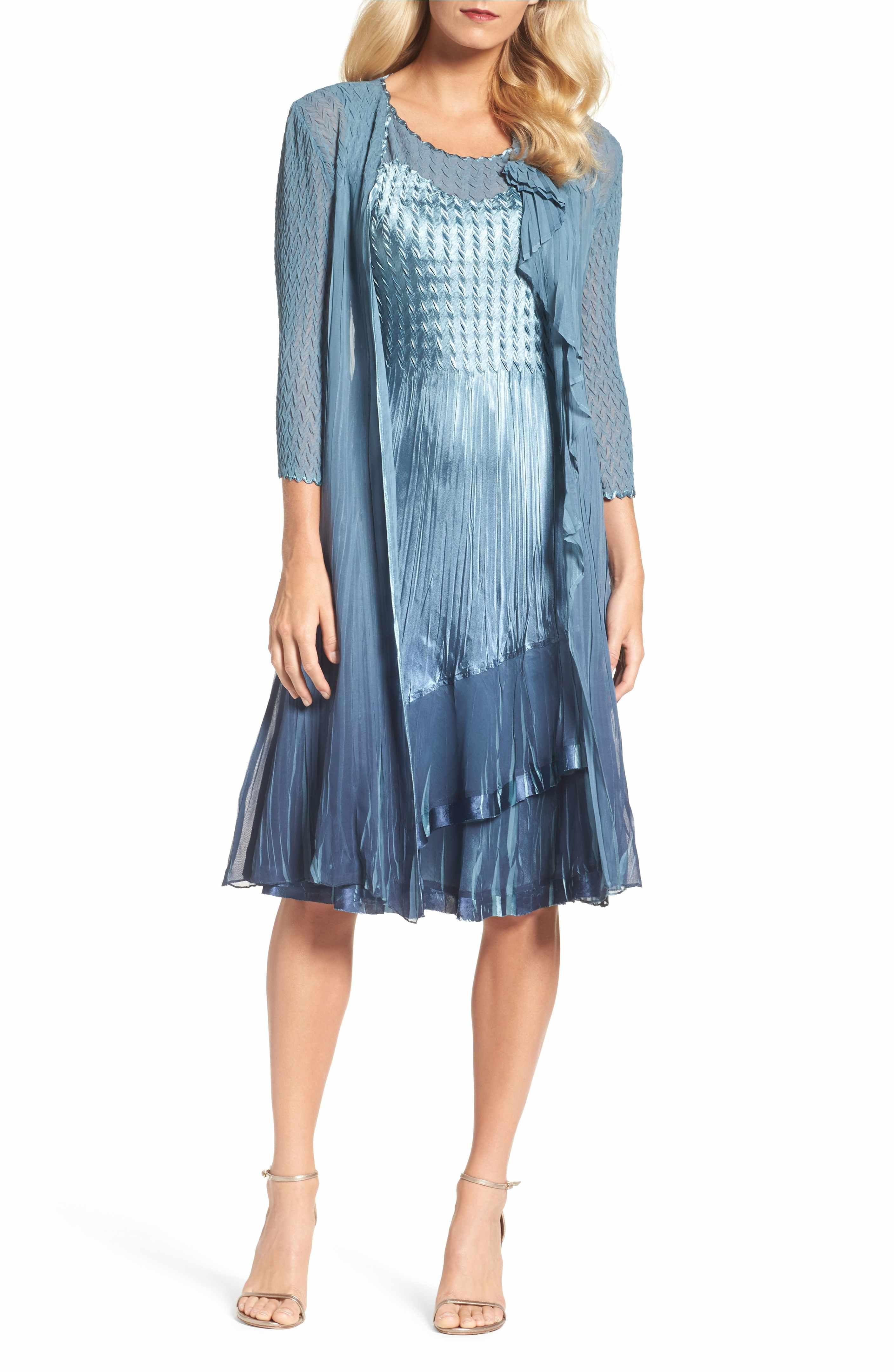 Main Image - Komarov A-Line Dress with Long Cascade Jacket (Regular ...