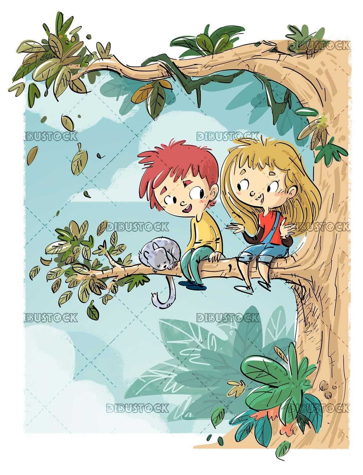 Children And Cat Climbed A Tree Branch In Nature Ilustraciones