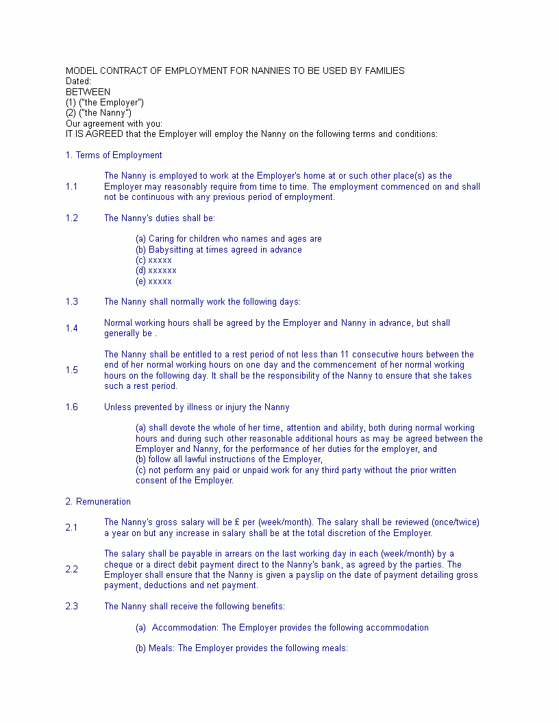 Child Care Worker Agreement Template Contract Childcarebusiness