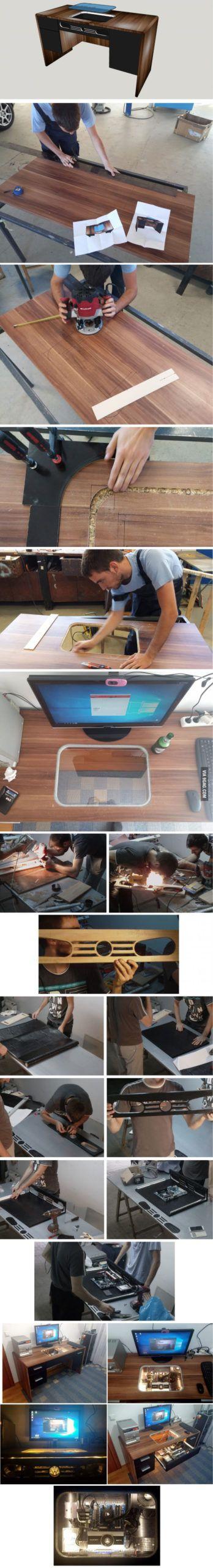 """Proyecto de bricolaje """"PC en la mesa"""" (enlace de video en los comentarios)"""