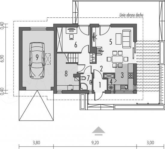 Parter casa cu amprenta 6,9 pe 9,20 metri