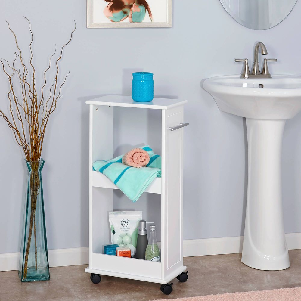 Bathroom Floor Storage Rolling Cabinet Shelves Organizer Bath Toilet ...