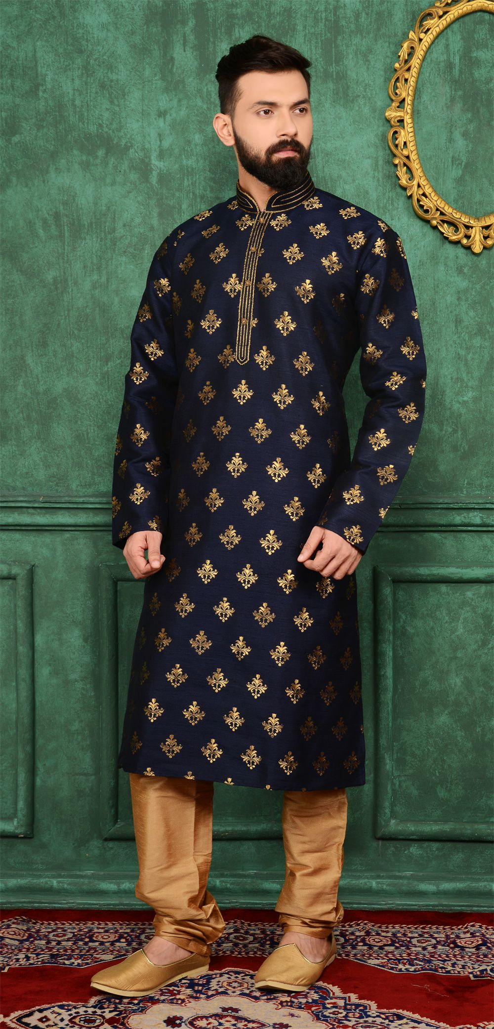 25276028 Dress up with the #Classic Blue Jaquard Silk Brocade Kurta for Men at  #NihalFashions, with 10% Discount & Free shipping all over India.
