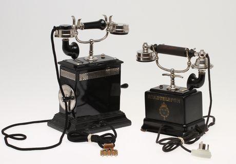 Tabletop telephones, Sweden. Circa 1900.