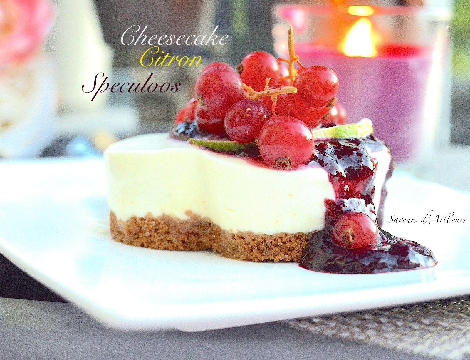 Cheesecake au citron vert sur lit de speculoos ...