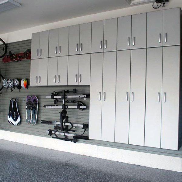Custom Garage Cabinet Ideas With Slat Board