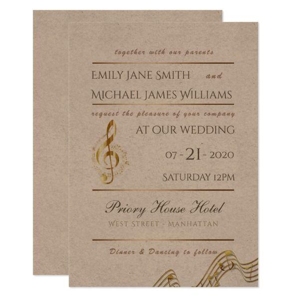 Music Note Kraft Wedding Invitation Musicians