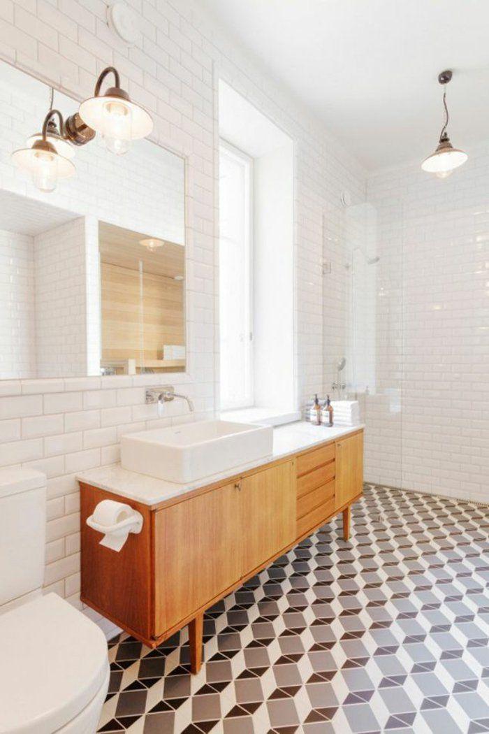 Le thème du jour est la salle de bain rétro! | Carrelage blanc ...