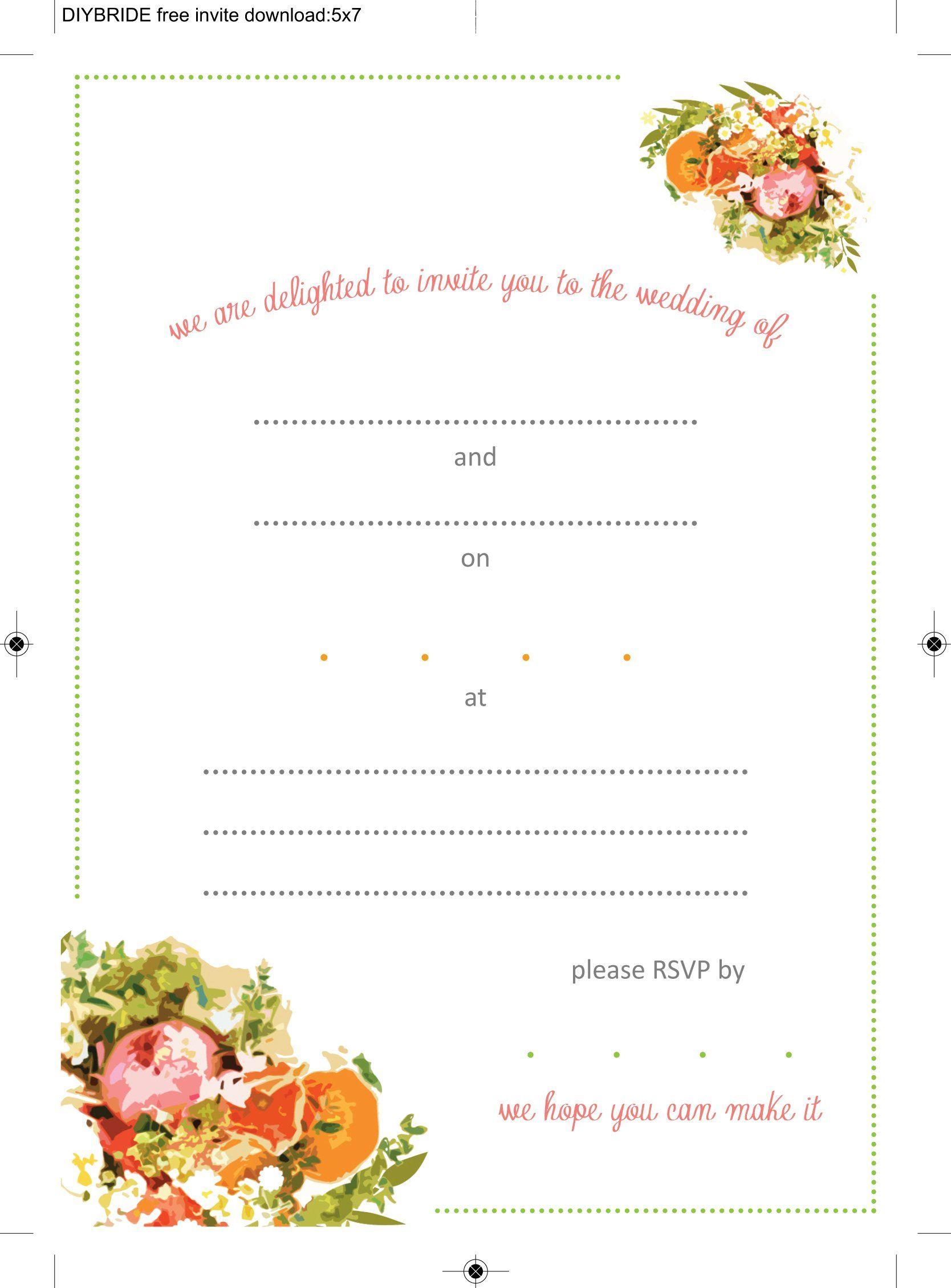 Create Wedding Invitation Template Printable