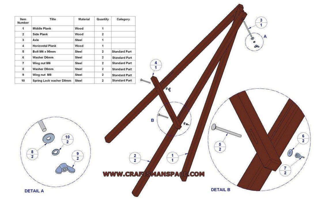 free easel plans lightweight tripod easel plan parts list fablab idea board pinterest