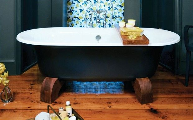 There's nothing in the slightest bit twee about the Fowey cast iron bath – just look at the size of those feet. The solid oak cradles are supplied unfinished, so you can wax, varnish, stain or paint them to match your bathroom. You can also customise the outside of the bath: the Cast Iron Bath Company will supply it painted in the Farrow & Ball colour of your choice. £1,195. The Cast Iron Bath Company: 01723 585896; www.castironbath.co.uk