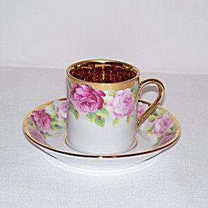 Volkstedt Rudolf Kammer Roses Demitasse Tea Cup and Saucer