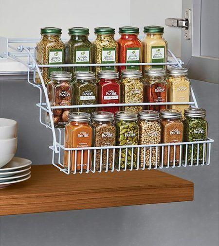 48 Easy Kitchen Storage Hacks That Will Instantly Upgrade Your Life Kitchen Storage Hacks Spice Storage Solutions Kitchen Storage Organization Diy