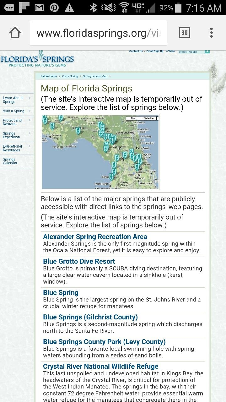 Florida Springs Map.Map Of Florida Springs Florida Pinterest Florida Springs