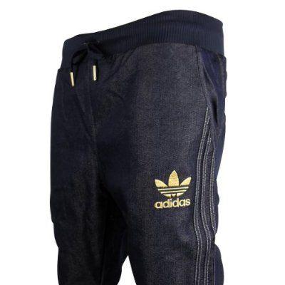359d8c8e00 Mens Adidas Originals Cuffed Denim Blue Jeans Tracksuit Bottoms ...